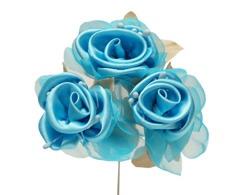 """2"""" Turquoise Satin Silk Flowers with Leaves - Pack of 36"""