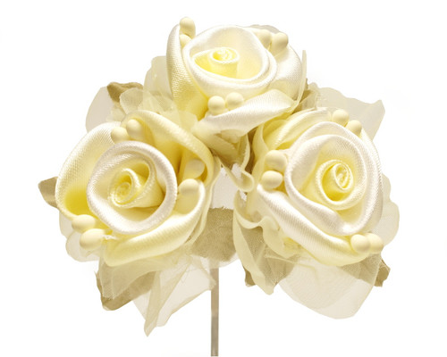 """2"""" Yellow Satin Silk Flowers with Leaves - Pack of 36"""