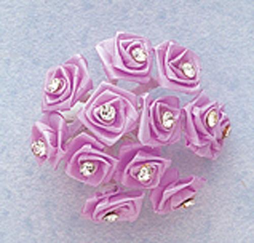 "3/4"" Lavender Silk Rose Flowers with Rhinestones - Pack of 144"