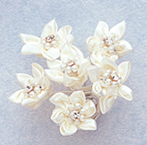 """1"""" Ivory Satin Flowers with Rhinestone and Pearl - Pack of 72"""
