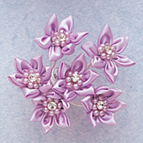 "1"" Lavender Satin Flowers with Rhinestone and Pearl - Pack of 72"