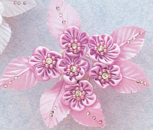 "7/8"" Lavender Satin Flowers with Rhinestone and Pearl - Pack of 72"