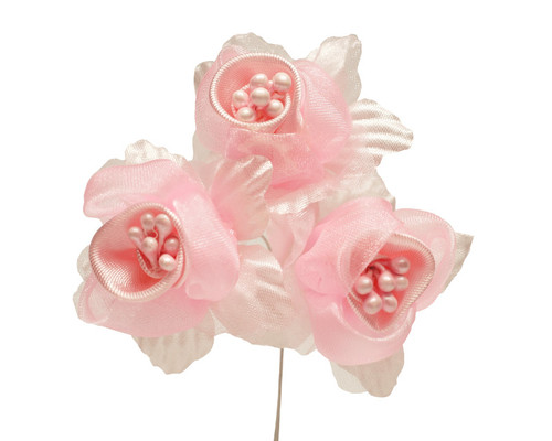 """2"""" Pink Satin Silk Flowers with Pearl - Pack of 36"""