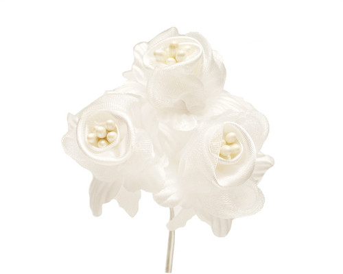 """2"""" White Satin Silk Flowers with Pearl - Pack of 36"""