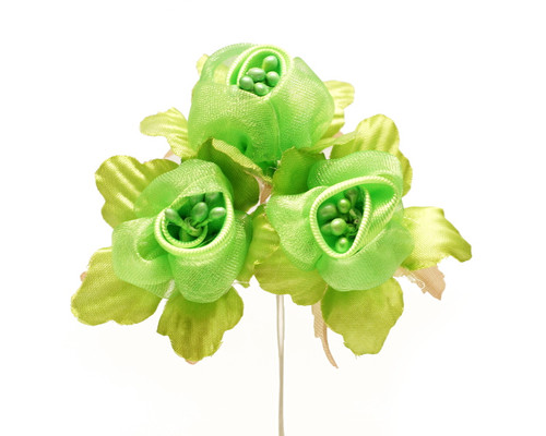 "1 3/4"" Apple Green Satin Silk Flowers with Pearl - Pack of 36"