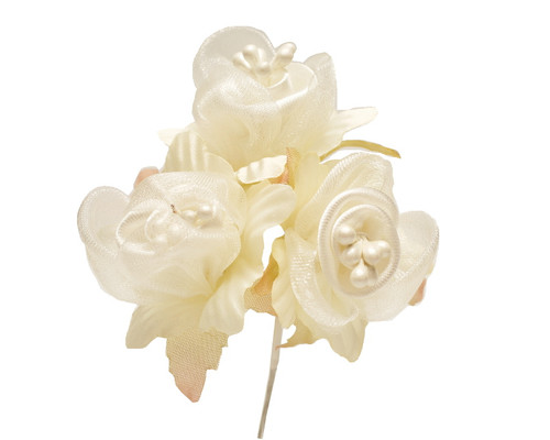 "1 3/4"" Ivory Satin Silk Flowers with Pearl - Pack of 36"