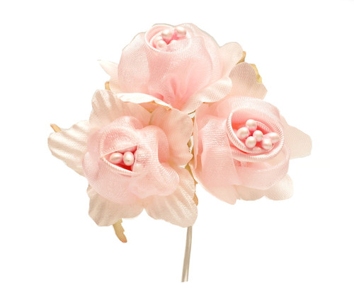 "1 3/4"" Pink Satin Silk Flowers with Pearl - Pack of 36"