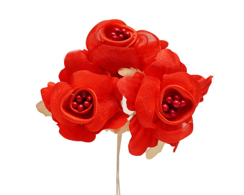 "1 3/4"" Red Satin Silk Flowers with Pearl - Pack of 36"
