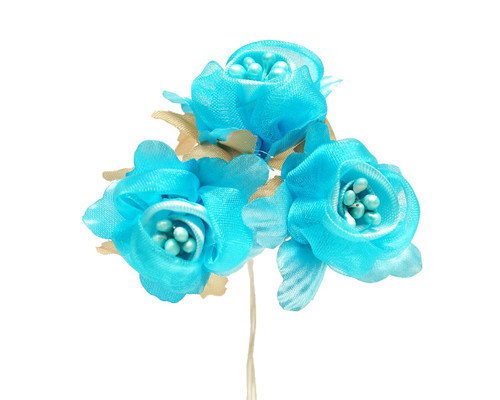 "1 3/4"" Turquoise Satin Silk Flowers with Pearl - Pack of 36"