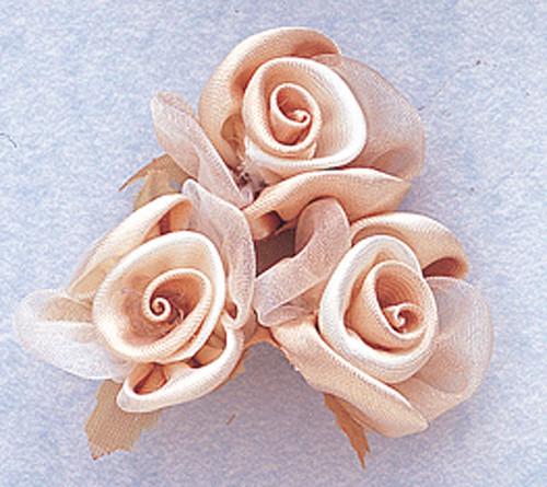 "1"" Tan Satin Silk Flowers - Pack of 36"