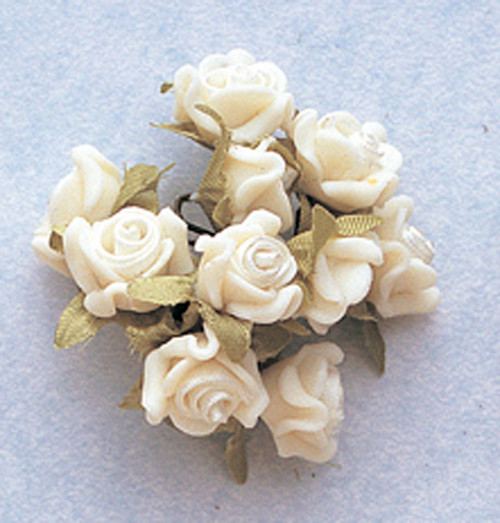 "5/8"" Ivory Clay Satin Flowers with Leaves - Pack of 120"