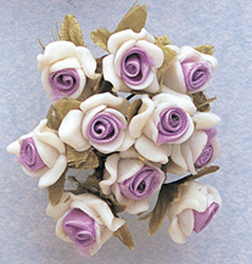 "5/8"" Lavender Clay Satin Flowers with Leaves - Pack of 120"