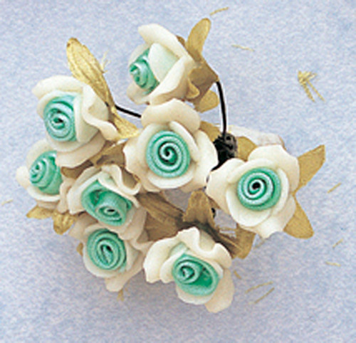 "5/8"" Mint Green Clay Satin Flowers with Leaves - Pack of 120"