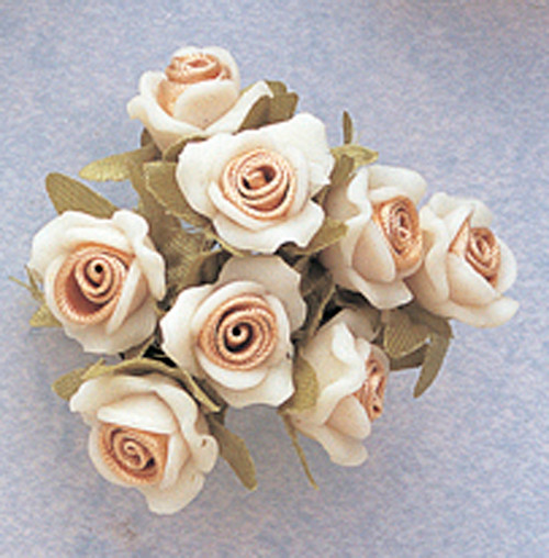 "5/8"" Tan Clay Satin Flowers with Leaves - Pack of 120"