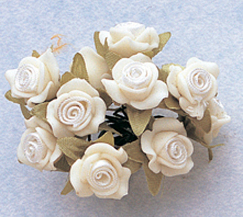 """5/8"""" White Clay Satin Flowers with Leaves - Pack of 120"""