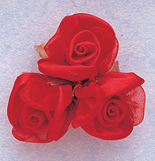 """1"""" Red Satin Silk Flowers - Pack of 36"""
