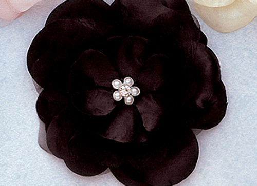 "4.5"" Black Large Silk Flowers with Rhinestone - Pack of 12 Pieces"