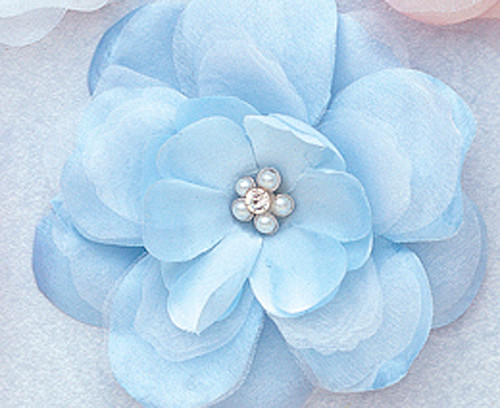 "4.5"" Light Blue Large Silk Flowers with Rhinestone - Pack of 12 Pieces"