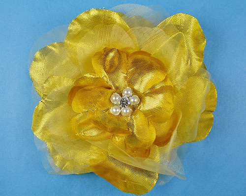 "4.5"" Gold Large Silk Flowers with Rhinestone - Pack of 12 Pieces"