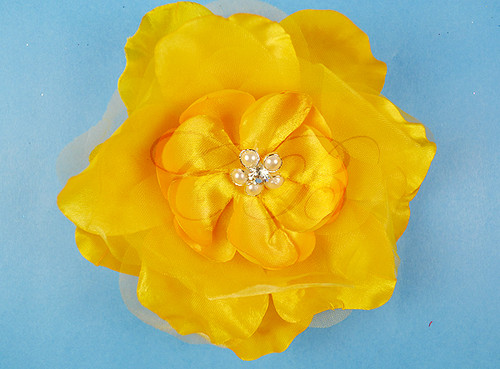 "4.5"" Dark Yellow Large Silk Flowers with Rhinestone - Pack of 12 Pieces"