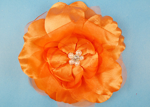 "4.5"" Orange Large Silk Flowers with Rhinestone - Pack of 12 Pieces"