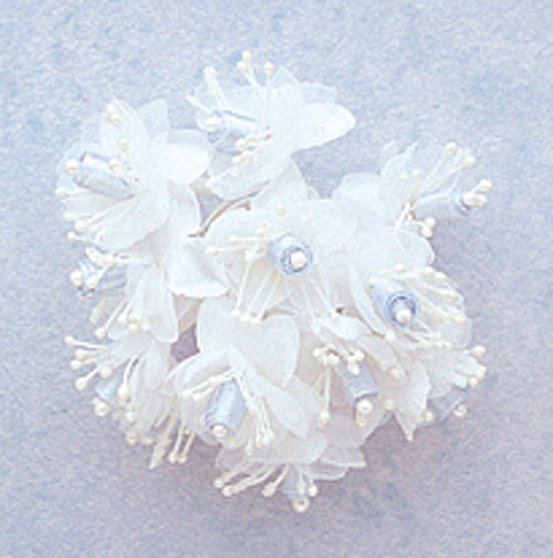 """1"""" Light Blue Satin Ribbon Flowers with Pearl - Pack of 144"""