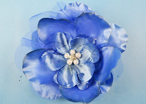 """4.5"""" Royal Blue Large Silk Flowers with Rhinestone - Pack of 12 Pieces"""