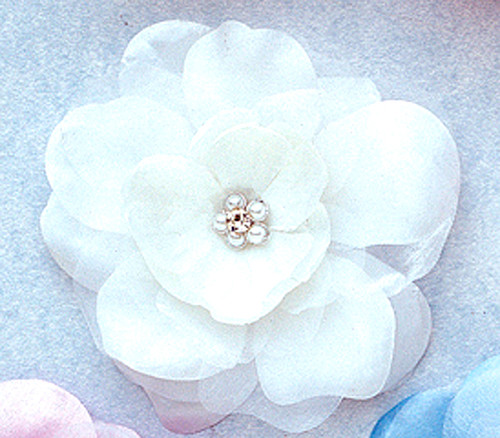 """4.5"""" White Large Silk Flowers with Rhinestone - Pack of 12 Pieces"""