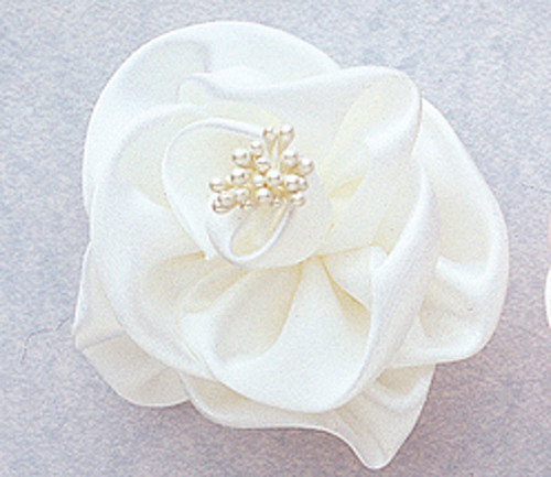 """3"""" White Large Satin Rose Flowers - Pack of 12"""