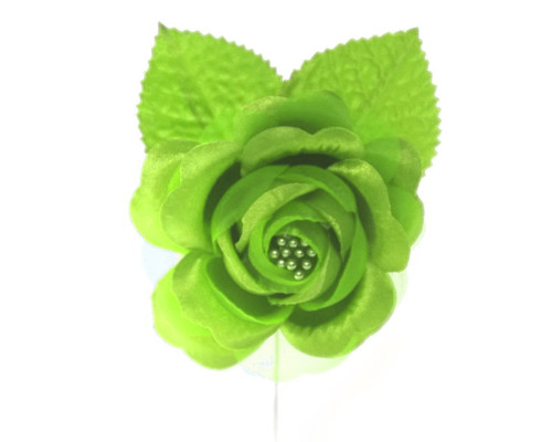 "2.5"" Apple Green Silk Single Rose Flowers - Pack of 12"
