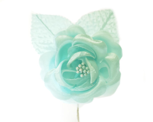"2.5"" Aqua Blue Silk Single Rose Flowers - Pack of 12"