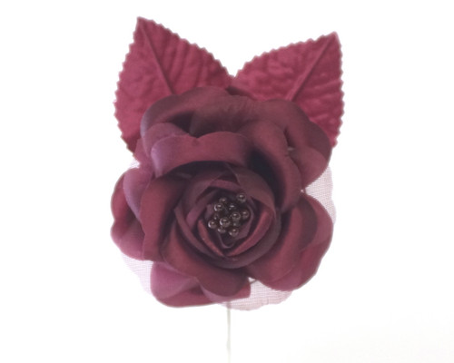 "2.5"" Burgundy Silk Single Rose Flowers - Pack of 12"