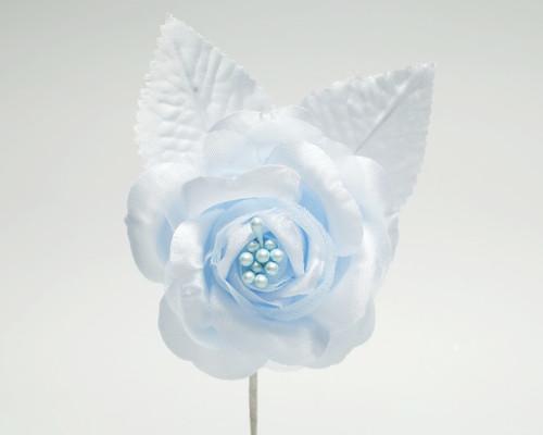 "2.5"" Light Blue Silk Single Rose Flowers - Pack of 12"