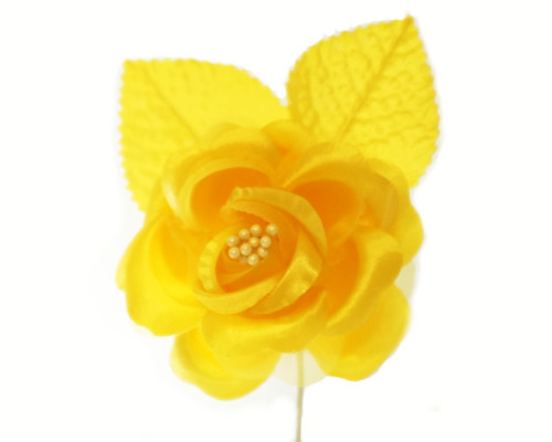 "2.5"" Dark Yellow Silk Single Rose Flowers - Pack of 12"