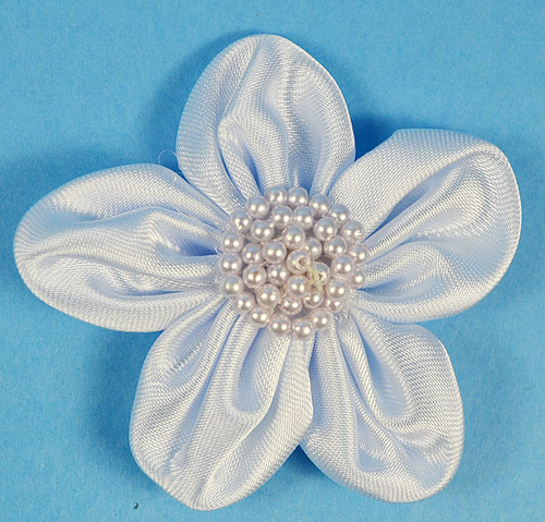 """2.5"""" Light Blue Satin Flowers with Pearl - Pack of 12"""
