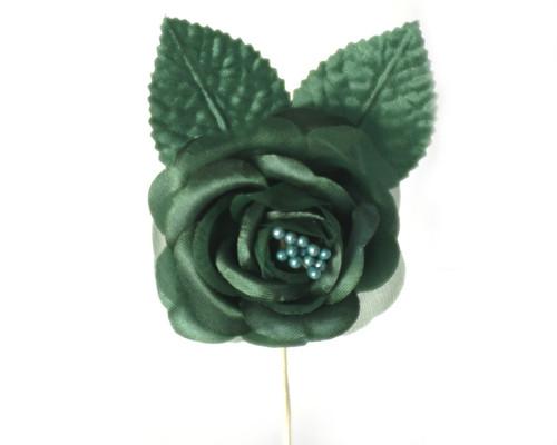 "2.5"" Hunter Green Silk Single Rose Flowers - Pack of 12"