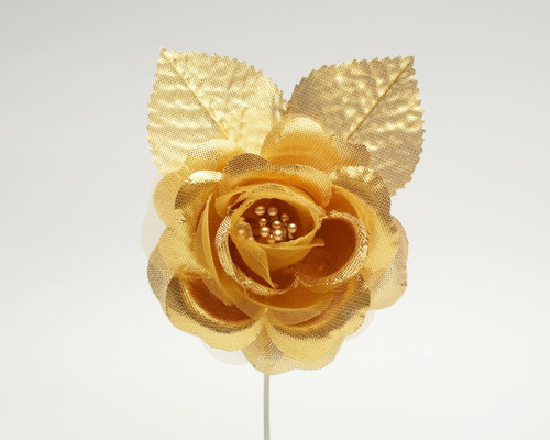 "2.5"" Gold Silk Single Rose Flowers - Pack of 12"