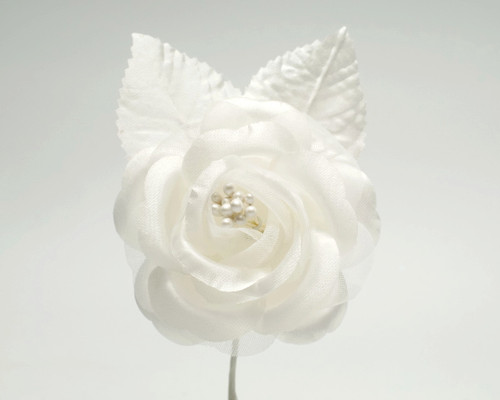 "2.5"" Ivory Silk Single Rose Flowers - Pack of 12"