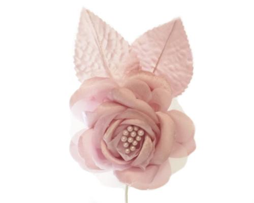 "2.5"" Mauve Silk Single Rose Flowers - Pack of 12"