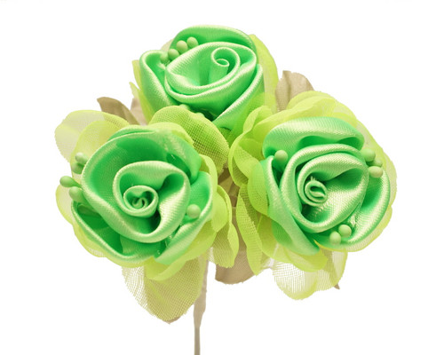 "2"" Apple Green Satin Silk Flowers with Leaves - Pack of 36"