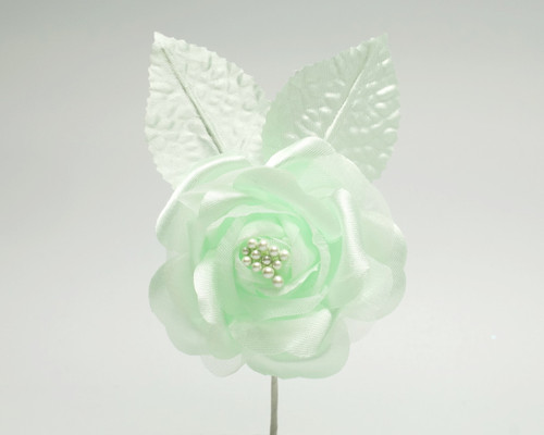 "2.5"" Mint Green Silk Single Rose Flowers - Pack of 12"