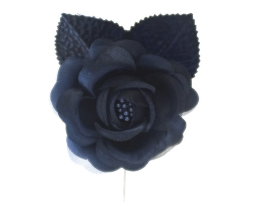 "2.5"" Navy Blue Silk Single Rose Flowers - Pack of 12"