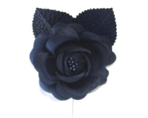 "2.5"" Navy Blue Silk Single Rose Flowers - Pack of 12"