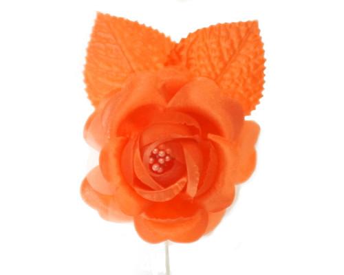 """2.5"""" Orange Silk Single Rose Flowers - Pack of 12"""