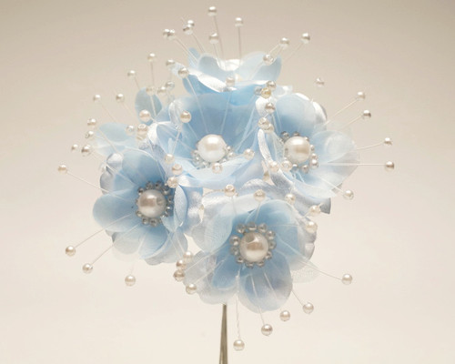 """1.5"""" Light Blue Silk Flowers with Pearl - Pack of 72"""
