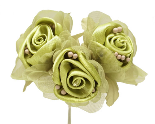 """2"""" Olive Satin Silk Flowers with Leaves - Pack of 36"""