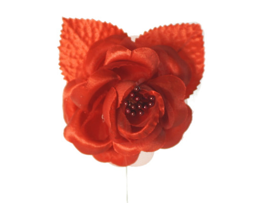 """2.5"""" Red Silk Single Rose Flowers - Pack of 12"""