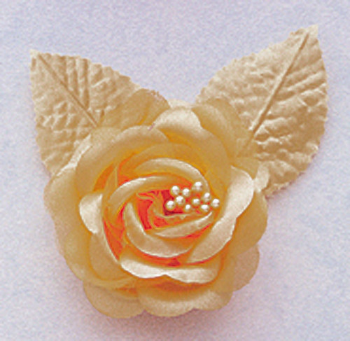 """2.5"""" Tan Silk Single Rose Flowers - Pack of 12"""