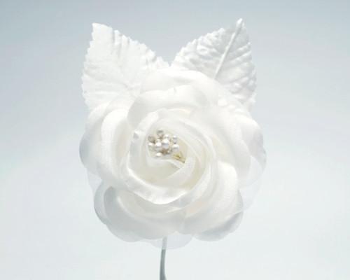 "2.5"" White Silk Single Rose Flowers - Pack of 12"