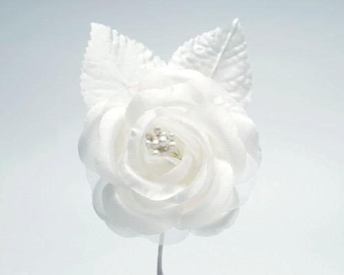 "2.5"" White Silk Single Rose Flowers - Pack of 12"
